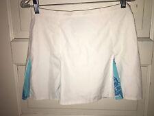 womens Lilly Pulitzer white blue seahorse pleated TENNIS skirt club sz 6 EUC