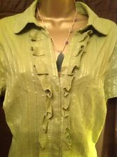 BEAUTIFUL LADIES TUNIC TOP, SIZE 20, NEW, SPARKLY GREEN, STRETCH, TIE BACK, TAGS