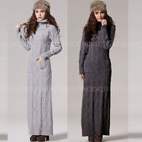 Winter Warm Women Turtleneck Chunky Kint  Wool Blend Pullover Maxi Sweater Dress