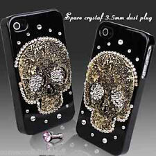 COOL LUXURY 3D BLING SKULL DIAMANTE PROTECTIVE BLACK CASE COVER FOR IPHONE 4 4S
