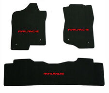 NEW! Black Floor Mats 2007-2013  Chevy Avalanche with embroidered logo Red set 3