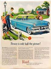 Vintage 1953 Ford Crestline blue car advertisement print ad art