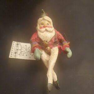 Vintage House of Hatten Folk Art Style Shelf Sitter Santa Elf 1989 Tags  READ