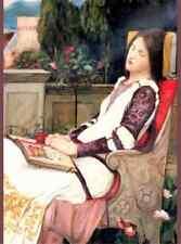 Art Postcard: Woman with Book in Garden in beautiful dress - Waterhouse
