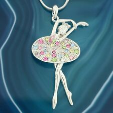 "Ballet Dancer Pendant Made With Swarovski Crystal 18"" Chain Multi Color Necklace"