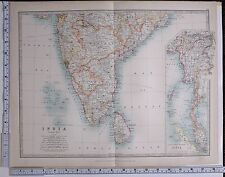 1915 Large Map India South Feuille Ceylan Madras Mysore Hyderabad Burma Bengale