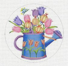 *NEW* Debbie Mumm Tulips in a Watering Can HP Needlepoint Canvas ~ M. Shirley,