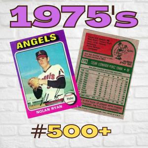 1975 Topps Baseball Singles ~ Set Break ~ 500+ ~ VG or Better Condition ~ High #