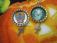 Skull With Dangle Charm Earrings Day Of The Dead Sugar