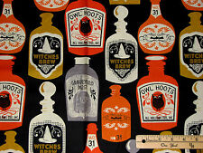 Spooktacular Potion Bottles Brew Owl Halloween Fabric by the 1/2 Yd  #107.04.1