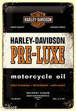 Nostalgic Art HARLEY DAVIDSON PRE LUXE MOTORCYCLE OIL USA ÖL  Blechschild 20x30