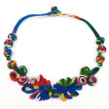 Collier - tissu coton motifs multicolore tons bleu rouge & vert - idée cadeau