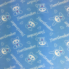 Skelanimals Flannel Fabric Heartbreaker Baby Blue 2 Yards David Textiles