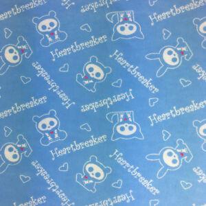 Skelanimals Flannel Fabric Heartbreaker Baby Blue 4 Yards David Textiles
