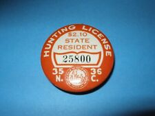 1935/36 NORTH CAROLINA STATE RESIDENT HUNTING LICENSE BADGE