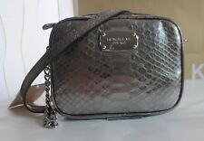 NWT MICHAEL KORS Sml Hamilton Crossbody Bag Leather Python Metal Nickel GIFT BOX