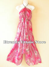 2D106 - Pink Versatile Silk Peacock Wear Scarf Women Maxi Dress Skirt, Maternity