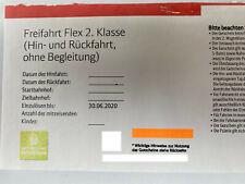 DB Deutsche Bahn Freifahrt Flex 2. Klasse (Hinfahrt + Rückfahrt)