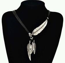 crystal necklace leaf Indian fancy dress tribal chunky choker silver + black 713