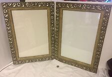 """2 Antique Picture Frames Ornate Emb."""" Morning Glory's"""" Silver& Gold 22""""x16"""""""
