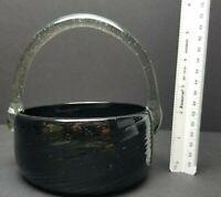 Hand Blown Art Glass Smoke Swirl BLACK BASKET Bowl Handled Vase Vintage Green