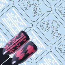 Adhesive Nail Vinyls Bamboo Flame Nail Art Hollow UR Sugar Stencil Stickers Tips