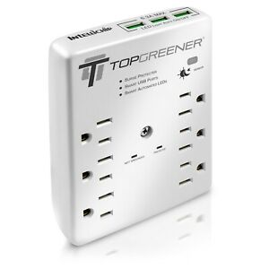 TOPGREENER 6 Outlet Extender Wall Mount Surge Protector Wall Tap W/ LED Light