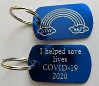 Personalised Stay Safe Rainbow Keyring Key Workers Keepsake Gift Key Chain