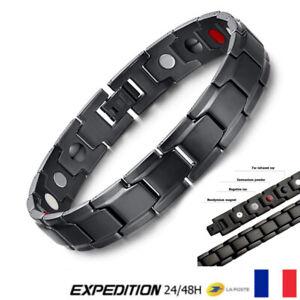 Bracelet magnétique Noir Thérapeutique énergétique Guérison Bijoux Thérapie V4