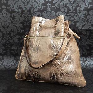Rise-on GUCCI Python Leather Beige Drawstring Bag Shoulder Bag Handbag #75
