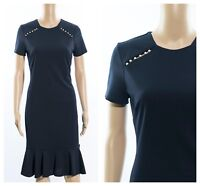 ex Roman Originals Pearl Frill Hem Navy Work Cocktail Versatile Dress