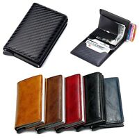 Mens RFID Blocking Leather Credit Card ID Holder Wallet Slim Money Clip Purse