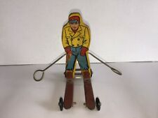 New listing ANTIQUE DOWNHILL SKIER WOLVERINE SUN VALLEY WOOD LITHO METAL SKIS WHEELS ACTION