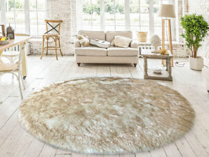 Lambzy FAUX  Round Sheepskin,Silky Shaggy Rug,Soft Touch Fur -WHITE/BROWN color