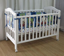 3 in 1 Classic Cot Crib Baby Bed Toddle Wheel cots Timber Wood White  Dropside