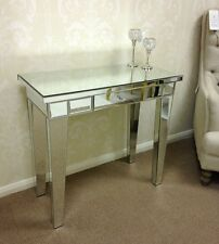 Modern Silver Mirrored Glass Venetian 1 Drawer Console Hall Dressing Table