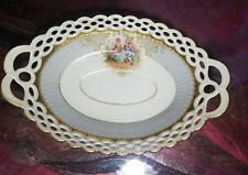 "AMBROSIUS LAMM, DRESDEN, HAND PAINTED  RETICULATED BOWL 9""x 6"" ANTIQUE"
