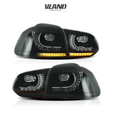 VLAND LED Tail Lights For VW GOLF MK6 GTI R 2010-2014 Full Smoked Rear Light