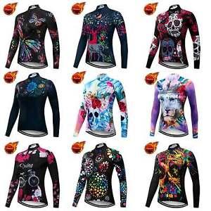 Women's Thermal Winter Cycling Jersey Ladies Fleece Bike Cycle Shirt Top S-5XL