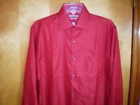 NWT NEW mens brick red VAN HEUSEN fitted wrinkle free pique dress shirt $45