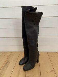H&M Ladies Knee High Boots Black Leather High Heel UK Size 5 38 NWT Premium