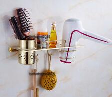 SUS Hair Dryer Holder Rack Storage Shelf Organizer Wall Hooks Hanger Bathroom H8