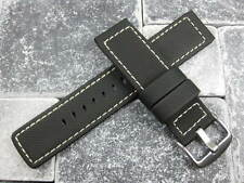 24mm Black HQ Rubber Diver Strap Watch Band Pam 1950 Maratac White Stitch 24