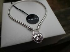 Authentic Pandora Bracelet Lock Your Promise Pink CZ Heart 596586FPC, 18cm=7.1""