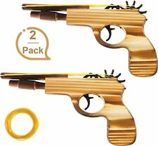 2-Pack Rubber Band Gun Quality Wood 8 rubber Bands per Set