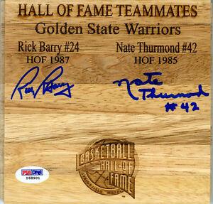 Nate Thurmond Rick Barry SIGNED Floorboard G.S. Warriors HOF PSA/DNA AUTOGRAPHED