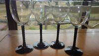 Black twisted stem wine glasses Water goblets Mikasa 4 9 oz elegant twisted stem