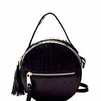 Ostrich Embossed Round Shoulder Bag Crossbody