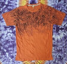 Babu T-Shirt Herren Goa OM Psy LSD Tribal Psychedelic Optik Vintage Orange Gr. L