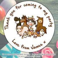 Personalised Farm Animals Birthday Party round stickers labels party cone sheet